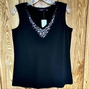 Susan Graver Artisan Top Black Beaded Blouse Small